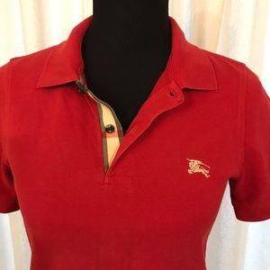 Burberry Women's Red Polo Shirt XS